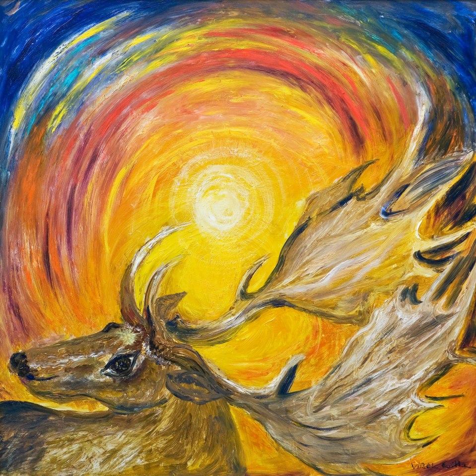Verók Csilla festménye arról a csodaszarvasról, amit Zsolt megálmodott, elmesélte és Csilla megfestette neki